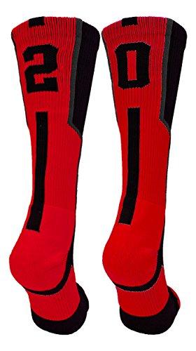 TCK Player Id Black/Red Number Crew Socks (#20, Large) ()