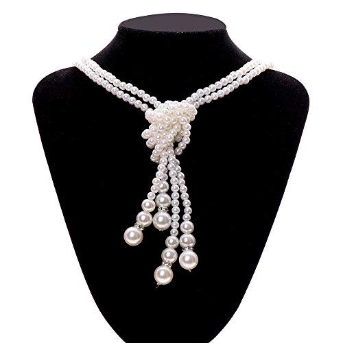 Haluoo Luxurious Multilayered Pearl Statement Necklace,Chunky Freshwater Pearl Knot Pendant with Long Pearl Chain Tassel Choker Necklace for Women Wedding Jewelry Dinner Dress Accessories (White)