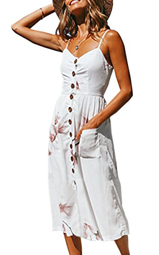 Angashion Women's Dresses-Summer Floral Bohemian Spaghetti Strap Button Down Swing Midi Dress with Pockets O860 White L