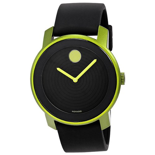 Movado Bold 3600166 Swiss Black Silicone Strap Green Case 44mm Unisex Watch