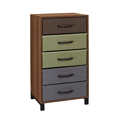 Household Essentials 8035-1 Wooden 5 Drawer Dresser | Storage Night Stand | Honey Maple ()