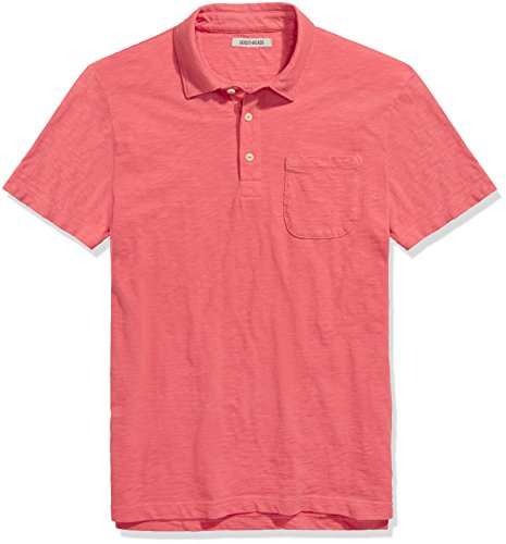 Goodthreads Men's Lightweight Slub Pocket Polo Shirt, Holly Berry/Washed Red, Large for $<!--$20.00-->