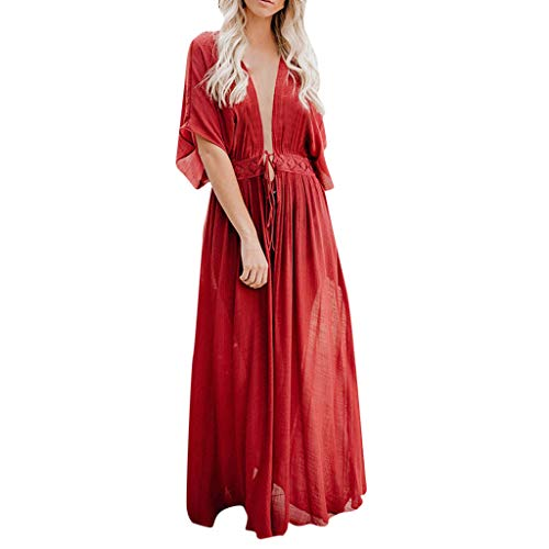 - Women Sexy Lace Crochet Open Front Swimsuit Beach Long Kimono Cover Ups Red