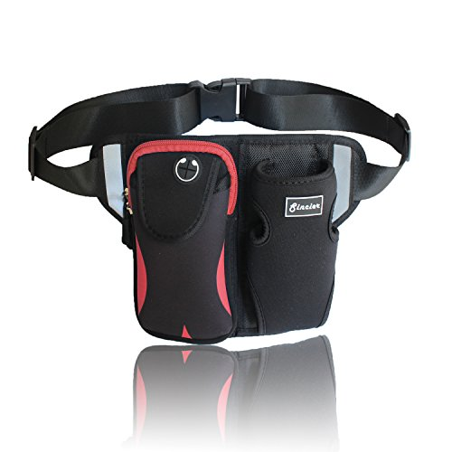 Waist Bag With Water Bottle Holder, Sincier Adjustable Medium-Length Strap,Outdoor Fanny Pack For Cycling,Camping,Climbing,Hiking,Running,Red