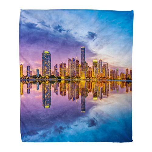 Golee Throw Blanket Downtown Miami Florida USA Skyline on Biscayne Bay Cityscape Day 60x80 Inches Warm Fuzzy Soft Blanket for Bed Sofa ()