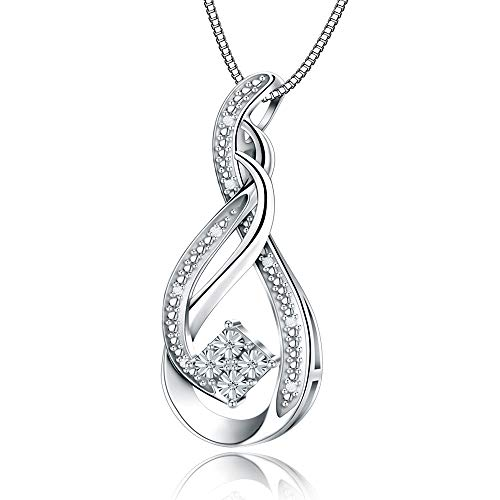 Jewlpire ♥Love Series♥ Woman Silver Necklace Diamond Necklace Pendant 0.04CT - The Closest Gift to The Heart(Sound of Heart) ()