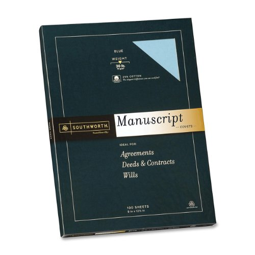 Southworth - Credentials Collection Manuscript Cover, 30lb Stock, 9 x 12-1/2, Blue, 100/Box - Pack of 10