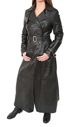 Ladies Full Length Leather Double Breasted Reefer Trench Coat Sharon Black (Large)