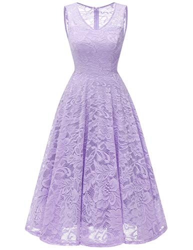 Meetjen Women's Cocktail V-Neck Dress Floral Lace Tea-Length Bridesmaid Party Dress Midi Lavender XS
