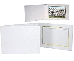 White Cardboard Paper Portrait Photo-mount Folder frame w/gold foil border sold in 25s - 8x10