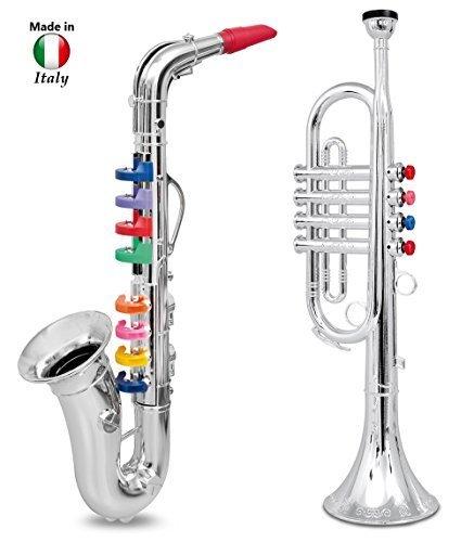 Trompeta Plateada Metálica para Niños Instrumento Viento Con Cuatro Llaves Color by iSote