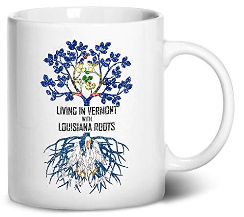 Tenacitee Living In Vermont with Louisiana Roots Coffee Mug, 11oz, White (Baton La Rouge Burlington)