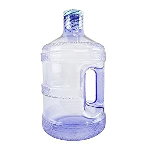 For Your Water 1 Gallon BPA FREE Reusable Plastic Drinking Water Big Mouth Bottle Jug Container with Holder - Light Purple