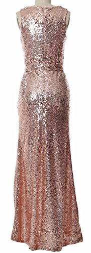 Formal Long Hi Dress Bridesmaid Schwarz V MACloth Sequin Lo Women Prom Gown Neck Dress xI5nzRqzCT
