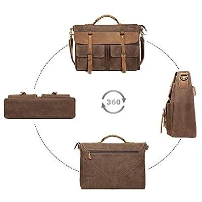 Large Messenger Bag for Men Tocode, Vintage Waxed Canvas Satchel Leather Briefcases Crossbody Shoulder Bags, 15.6 inch Computer Laptop Bags Water Resistant Travel School Work Bag Black