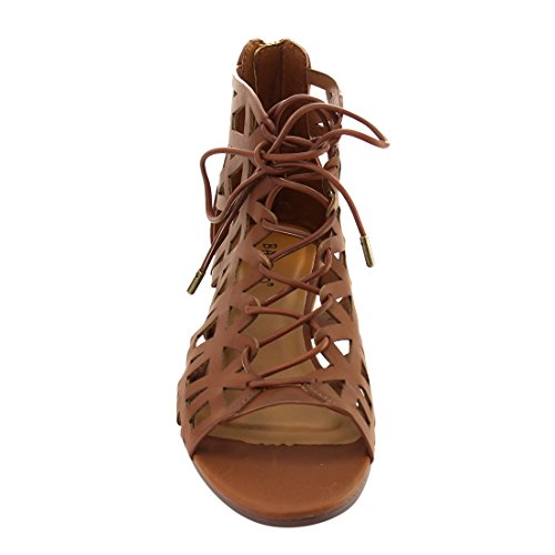 Bamboo Talented 01M Womens Lace Up Cut Out Design Wedge Chestnut RgFRKRuei