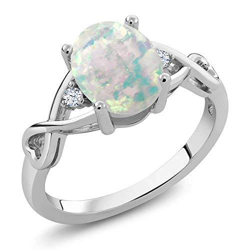 Gem Stone King 925 Sterling Silver Cabochon White Simulated Opal Women's Ring (0.69 Cttw, Oval Birthstone Available 5,6,7,8,9)