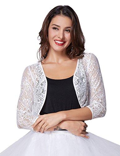 Lace Bolero - Kate Kasin Short Crochet Bolero Floral Lace Cardigan Top For Women (White, 2XL) KK430-2