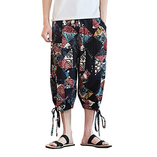 Men Women Loose Yoga Harem Pants Ratoop Unisex Drop Crotch Floral Joggers Aladdin Trousers Pants Black