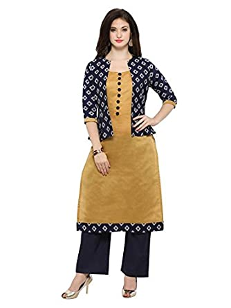 b6af3e13fbfe Inddus Blue & Yellow chanderi cotton kurti With Blue Jacket/Women ...