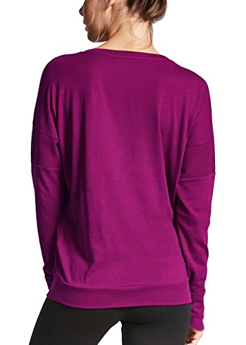 Fihapyli Women Heart Pattern Patchwork Long Sleeve Round Neck Knits T-Shirt Pullover Yoga Top Long/SLV Thumb Hole Simple T-Shirt Top (Raspberry, ()