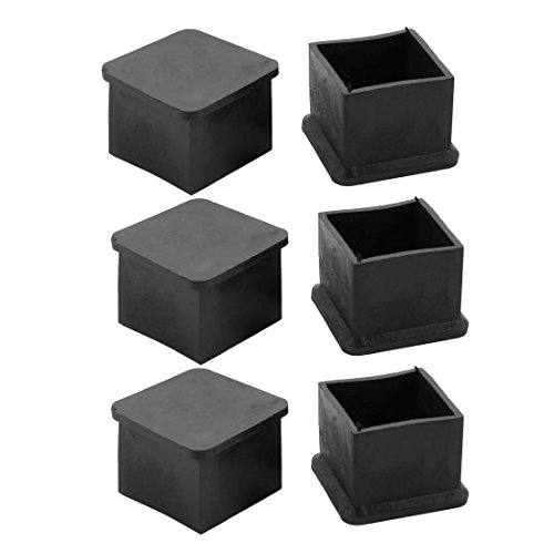 uxcell 6pcs 30x30mm Black PVC Rubber Square Cabinet Leg Insert Cover Protector by uxcell