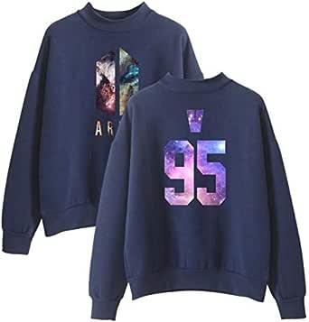BTS 95 V round neck hoodie velutinous navy blue hoodie-XL