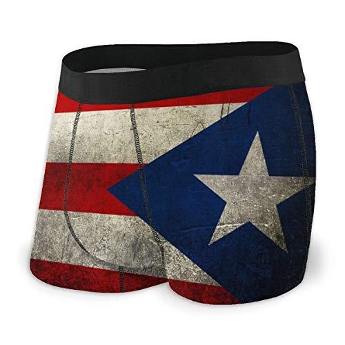 NTQFY Retro Puerto Rican Flag Mens Boxer Briefs Soft Cotton Underwear Breathable Stretch Underwear L Black