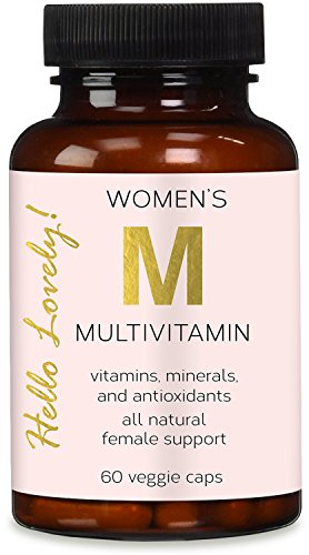 Once Daily Multivitamin for Women, Ultra Potency 1000mg - Raw Whole Food Vitamins A B C D E, Biotin, Calcium, Zinc, Lutein, Magnesium, Manganese, Folic Acid. by Hello Lovely! - 60 Veggie Capsules