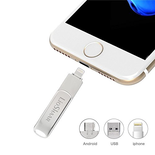 Lio SHAAR USB Flash Drive,Lightning Flash Drives 3.0, Mobile Flash Drive 3 in 1 Memory Stick External Storage Memory Expansion for Apple iPhone iPod iPad Computer Mac Laptop PC (Silver-32GB) by Lio SHAAR