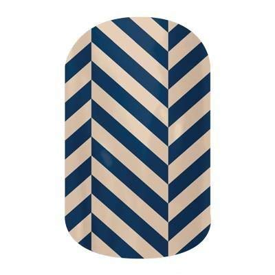 Jamberry Nail Wraps - Slatted Herringbone - Full Sheet - Navy & Tan
