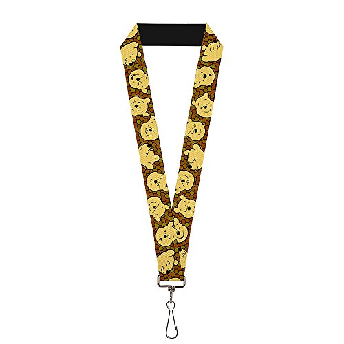 - Buckle-Down Lanyard - Winnie the Pooh Expressions/Honeycomb Black/Browns