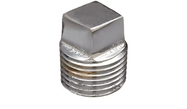 3//4 NPT Male Chrome Plated Brass Pipe Fitting Square Head Solid Plug