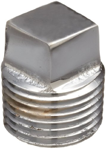Chrome Plated Brass Pipe Fitting, Square Head Solid Plug, 1/2