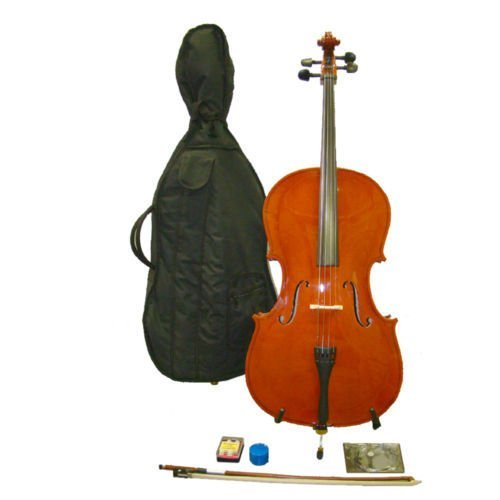 Crystalcello MC110 Full Size 4/4 Cello with Carrying Bag + Bow + Accessories by Crystalcello
