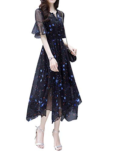 D.B.M Women's V-Neck Elastic Waist Flare Sleeve Abstract Printed Chiffon Dress (Small, Black2) (Dress Chiffon Printed)