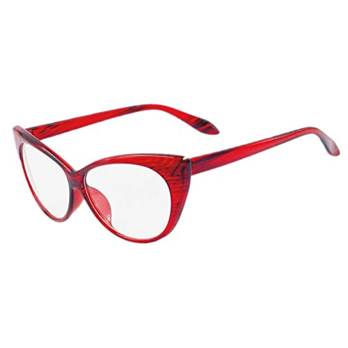 4144543b95 Amazon.com  Super Cat Eye Glasses Vintage Inspired Mod Fashion Clear Lens  Eyewear (Red)  Sports   Outdoors