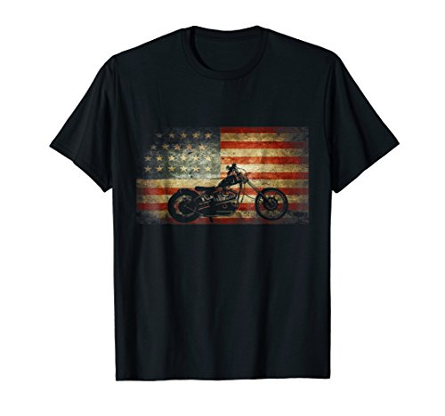 Motorcycle American Flag patriotic vintage July 4th - Chopper Motorcycle T-shirt
