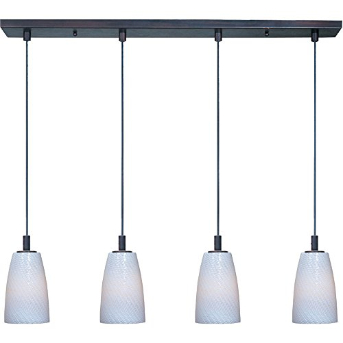 - ET2 E94204-13BZ Carte LED 4-Light Linear Pendant, Bronze Finish, White Ripple Glass, LED Bulb, 50W Max., Dry Safety Rated, 2700K Color Temp., Standard Dimmable, Natural Fiber Shade Material, 4065 Rated Lumens