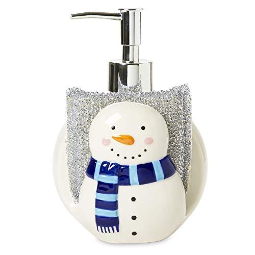 Snowman Soap Dispenser (Tri-Coastal Design Decorative 2-in-1 Ceramic Snowman Shaped Kitchen Bathroom Sink Countertop Space-Saver Refillable Soap Pump Dispenser and Sponge Caddy Holder with Scrunchy)