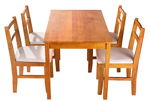 Merax soild wood 5 piece dining sets 4 person dinning for Dining room table 4 person