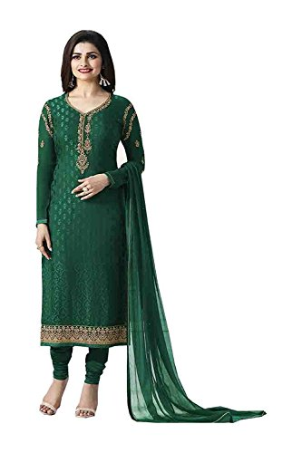 Laxminarayan Ready Made Brasso Embroidered India Pakistan Churidar Straight Cut Salwar Suit (Green, L)