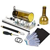 [G2 Version] Genround Bottle Cutter & Glass Cutter Tool,Upgrade Glass Bottle Cutter,Beer Bottle Cutter,Wine Botter Cutting Kit with Non-Slip Gloves,Sandpaper for DIY Candle,Wind Chime - Sliver,8 pcs