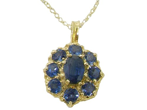 Womens Solid Yellow 10K Gold Natural Blue Sapphire Large Cluster Pendant Necklace with 20