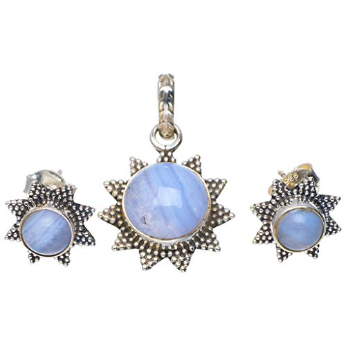 Natural Blue Lace Agate 925 Sterling Silver Jewelry Set Pendant 1.25