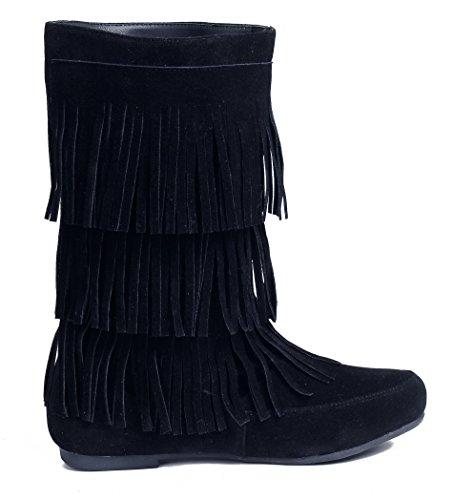 con Cuña Sólido Botas Flecos AgeeMi Mujer EuX45 Suede Cuña de Negro Shoes Tacón R4pzxf