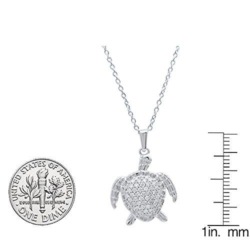 Dazzlingrock Collection 0.50 Carat (Ctw) 14K Gold White Diamond Ladies Sea Turtle Pendant 1/2 CT (Silver Chain Included)