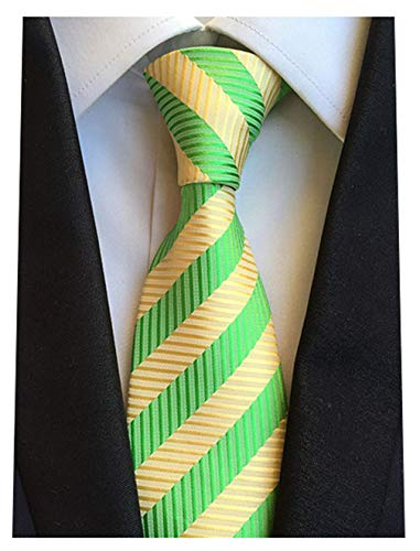 MENDENG Classic Green and Gold Striped Silk Men's Ties Business Party Neckties