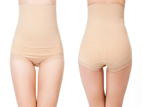 Women's Shapewear Hi-Waist Brief Firm Tummy Control Butt Lifter Panty Shaper (Medium / Large, Nude)