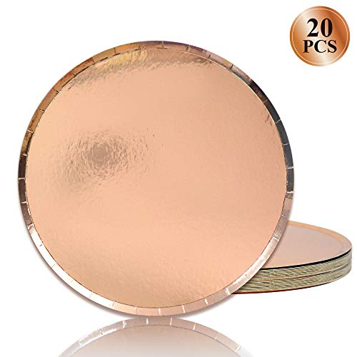 Rose Gold Paper Dinner Plates - 20 Count Paper Dessert Plates Disaposable Eco Paper Plates 9 Inch Heavy Duty Plates Round Big Party ()